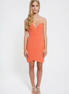#Orange #Strapless #Mini #Drape #Dress #Bright #Bold #Beautiful #Chic #Style #UsTrendy