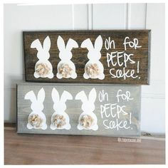Easter peeps bunny sign! Perfect for mixing in with your other Easter decor or hanging on a wall. The bunnies and text are painted directly onto the wood and then sprayed with a Minwax Clear Gloss. No vinyl or stickers that would peel over time. Shelf measures 13 1/4 wide x 5 1/2 tall.
