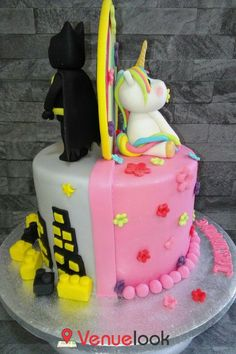 Batman/unicorn half and half cake Hulk Birthday Cakes, Birthday Cake Girls, Half Birthday, Fondant Cake Designs, Peacock Cake, Twins Cake, Batman Cakes, Birthday Cake Decorating, Minnie