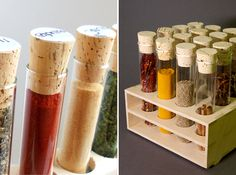 how to organize spices (spice rack with glass tubes)