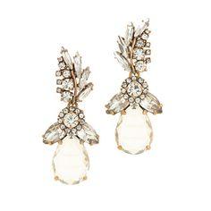 Crystal feather teardrop earrings. #JCrew
