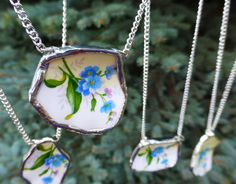 7 Matching Broken China Necklaces Bridesmaids by OutreJewelry