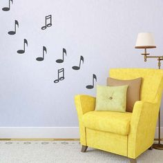 Music Note Wall Decals, Music Wall Stickers, Trendy Wall Designs