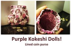 Purple Kokeshi Dolls! Kokeshi Dolls, Coin Purses, Lunch Box, Purple, Collection, Coin Wallet, Coin Purse, Bento Box