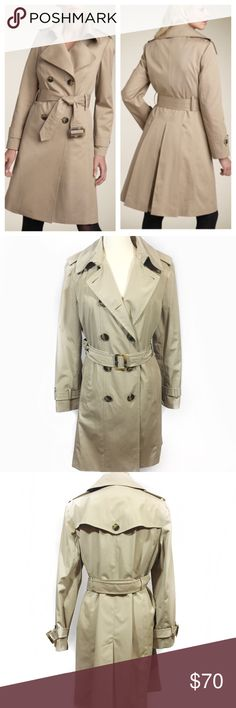 LONDON FOG DOIBLE BREASTED TRENCH COAT -Like new; no flaws; great condition inside&out -Front button closure with throat latch -Long sleeves with button-tab cuffs -Removable belt -Full length (top to bottom hem): 38 inches -Sleeve length: 25 inches -Measurements:        Numeric U.S. Size: (12-14)       Bust: 42 inches       Waist: 40-41 inches       Hip: 47 inches London Fog Jackets & Coats Trench Coats