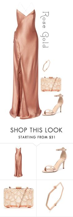 """Rose Gold Evening Gown"" by marsophie ❤ liked on Polyvore featuring Mason by Michelle Mason, Verali and Borgioni"