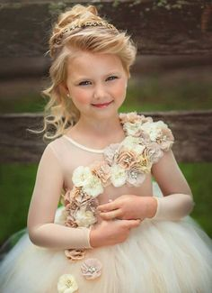 Flower girl dress ivory and beige couture ling by alorasafari