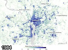 Satellite maps shows explosion in paved surfaces in D.C. region since 1984 - The Washington Post   The changes are glaring.