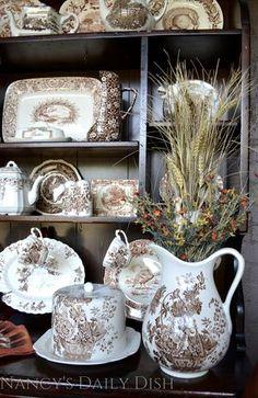 Vintage Brown English Transferware  Huge Water Pitcher Flowers Roses Charlotte Basket