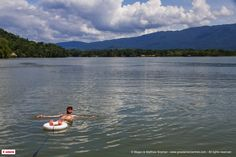 Matthew Snyman from the Great World Trek floating around on Rio Dulce in Guatemala