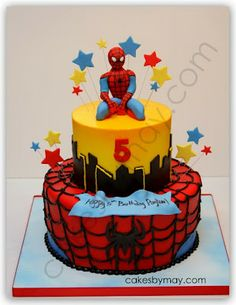 Love all the bright and fun colors on this Spiderman Cake. Kids don't care much for fondant so this cake was iced in buttercream with fon. Spiderman Birthday Cake, Birthday Cakes For Men, Superhero Cake, Cakes For Boys, 3rd Birthday, Birthday Ideas, Fondant Cakes, Cupcake Cakes, Character Cakes