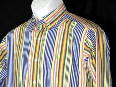 Polo Ralph Lauren Colorful Striped Button Up Youth Shirt Sz LG 16/18 Green Pony #PoloRalphLauren #Everyday