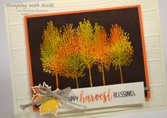 I had an idea to use the Joseph Coat technique along with the Winter Woods stamp set to give my card a true fall feeling. Fall Cards, Holiday Cards, Christmas Cards, Christmas Music, Stamping Up Cards, Card Making Techniques, Thanksgiving Cards, Card Tutorials, Joseph Coat
