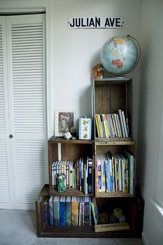 Crates bookcase - via A Rowan Tree