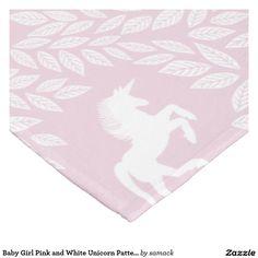 Baby Girl Pink and White Unicorn Pattern Fleece Blanket