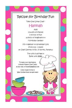 Baking Girl Invitations for Childrens by PracticallyDarling. , via Etsy.