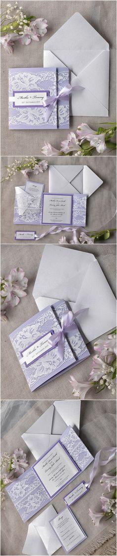 Vintage lavender lace wedding invitations #weddingideas #purpleideas