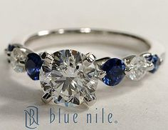 Floating Sapphire and Diamond Engagement Ring #BlueNile
