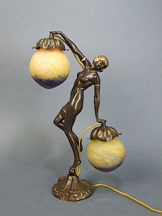 Bacchanal Lady Lamp Bronze lady lamp holding pate de verre glass shades signed Le Ver Francais. This same statue can be seen in the Chiparus book on page 191 and the title is Bacchanal. It is bronze so may be a vintage copy of a Chiparus. It measures 16.5 inches (42cm) high. Condition is very good. Ref: L1924 . . . £895