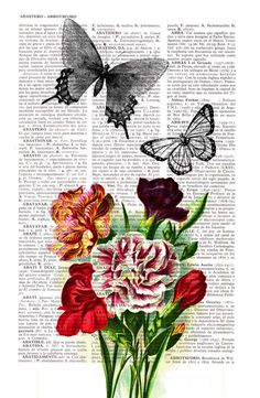 Butterfly collage Dictionary page print art $6.99