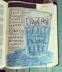 John 4:14. Bible Journaling.