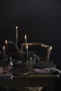 black on black table setting