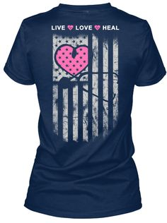 Live Love Heal Navy T-Shirt Back