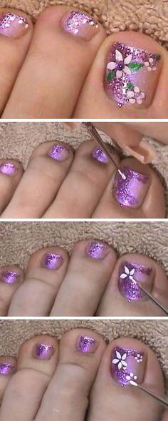 Purple Glitter Finger & Toe Nail Art Design | 18 DIY Toe Nail Designs for Summer Beach | Easy Toenail Art Designs for Beginners