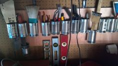 Garage Storage and Organization Ideas. Usually, we skip the garage when it's time to organize, but it's generally one of the most cluttered spaces of our Garage Tool Organization, Diy Garage Storage, Garden Tool Storage, Garage Tools, Organization Hacks, Storage Ideas, Organizing Ideas, Skateboard Storage, Cute Diy Projects