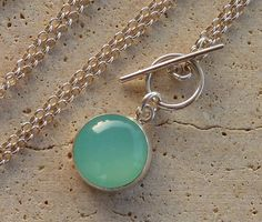 Aqua Chalcedony necklace with a sterling silver chain by anakim, $72.00