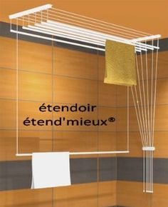 séchoir à linge suspendu à barres indépendantes ETEND'MIEUX® 6 barres (largeur 54 cm) x 1 m 30, capacité d'étendage 7m80