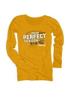 Wichita State Shockers T-Shirt - Gold Shockers Perfect Season 2014 Long Sleeve Tee http://www.rallyhouse.com/shop/wichita-state-shockers-570240 $34.99