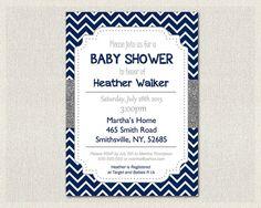 Baby Shower Invitation Boys Navy Blue Baby by PixieBabyShower