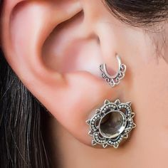 Beautiful tiny hoop earring. Tribal, ethnic, delicate design. Can be worn as an earring for the tragus, cartilage, helix, septum or as a nose ring. Material: Brass / sterling silver / gold plated sterling silver 20g - 0.8mm W - 0.45 Inch / 11.5 mm L - 0.40 Inch / 10. 2mm Inner