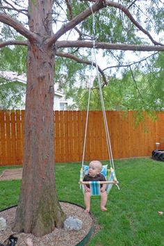 Sam needed a swing.  He's almost seven months, he's sitting up like a pro, and he needed some backyard entertainment for Grandpa and G...