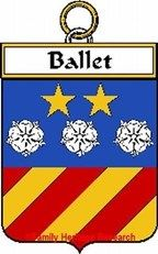 Ballet French Coat of Arms Print Family History Crest