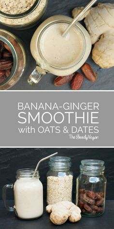 and Ginger Smoothie Oats, ginger and bananas provide the perfect mix for anyone with acidity problems. Oats, ginger and bananas provide the perfect mix for anyone with acidity problems. Smoothies Vegan, Oat Smoothie, Easy Smoothies, Strawberry Smoothie, Smoothie Drinks, Vegetable Smoothies, Green Smoothies, Non Dairy Smoothie, Vegan Breakfast Smoothie