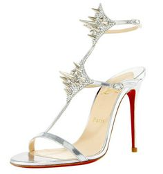 "Christian Louboutin ""Lady Max"" Spike Embellished Metallic Leather Sandals"
