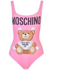 Moschino Bear Logo Swimsuit ($200) ❤ liked on Polyvore featuring swimwear, one-piece swimsuits, pink, low back bathing suit, moschino swimwear, moschino and swimming costumes