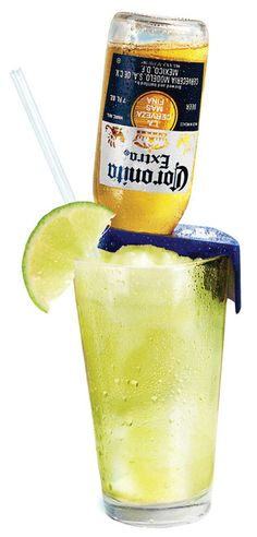 CoronaRita oz tequila 1 oz lime juice oz triple sec 17 oz Coronita lime wedges salt Rim the serving glass with salt. Pour the tequila, triple sec, and lime juice in the glass and mix. Add an upside down Coronita to it. Garnish with fresh lime. Party Drinks, Fun Drinks, Yummy Drinks, Alcoholic Drinks, Beverages, Sweet Cocktails, Summer Cocktails, Cocktail Drinks, Summer Parties