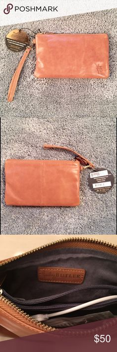 Mighty Purse Wristlet Handbag Butler Mighty Purse!!  NWT!!  The purse with a hidden lightweight battery inside that charges your phone on-the-go!  Compatible with any smartphone with a micro-USB port. All adapters included.  Soft Almond Brown leather with gold hardware. Credit card slots and zipper compartment inside. Mint condition at a great price. Handbag Butler Accessories