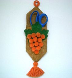 Vintage Scissors Holder with Orange Grapes by REdesignkc on Etsy