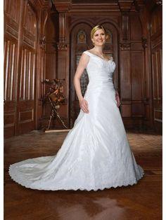 Taffeta off-shoulder Ruffled Bodice A-line Wedding Dress