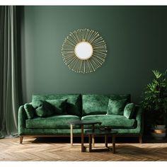 Dark Accent Walls, Accent Walls In Living Room, Accent Wall Colors, Living Room Mirrors, Living Room Colors, Accent Wall Bedroom, Living Room Decor, Green Painted Walls, Dark Green Walls