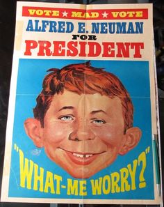 VINTAGE MAD MAGAZINE ALFRED E. NEUMAN FOR PRESIDENT POSTER RETRO MAN CAVE