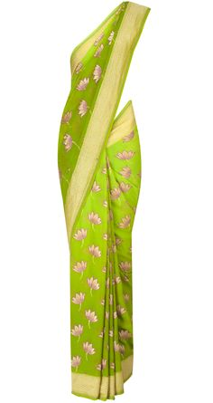 Pista lotus inspired motif sari by EKAYA. Shop at http://www.perniaspopupshop.com/whats-new/ekaya-16