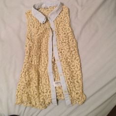 Lace crochet yellow button up tank with collar See through crochet material with soft colors Tops Tank Tops