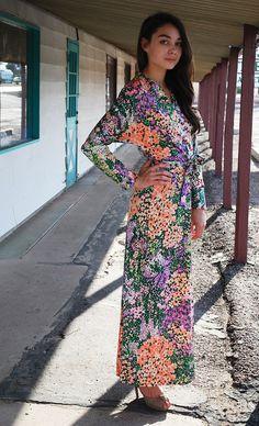 Vintage Floral Dress 70s Impressionist by WaistedVintage1 on Etsy, $52.00