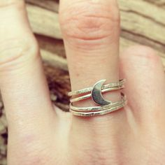 Sterling Silver Crescent Moon Thread Thin Ring. $35.00, via Etsy.