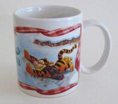 Disney Winnie the Pooh Eeyore Tigger Winter Fun Coffee Mug cup 12 oz Ceramic